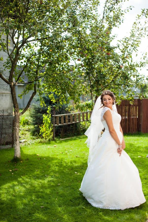 Härlig elegant lycklig brunettbrud på bakgrundsgräsplanGet royaltyfria bilder