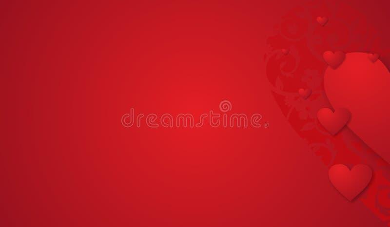 Härlig elegant röd bakgrund med hjärtor för valentin dag royaltyfri illustrationer