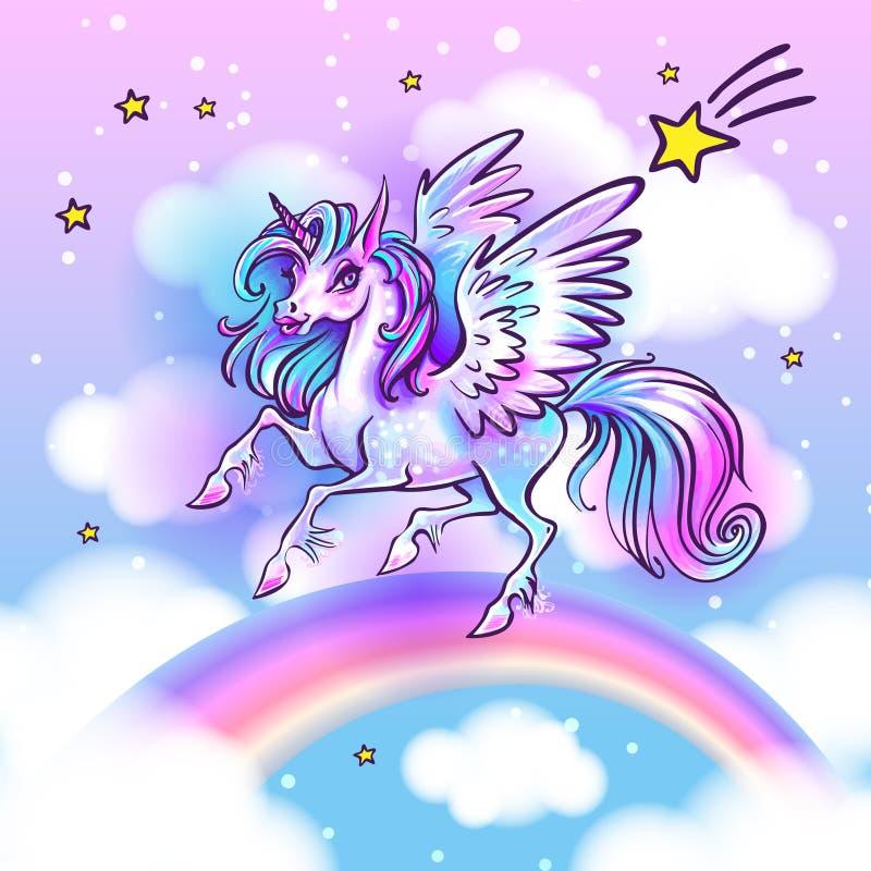 Härlig enhörningvektorillustration Magisk fantasihästdesig royaltyfri illustrationer