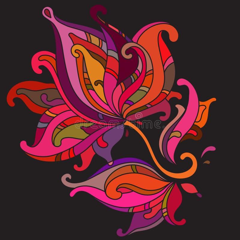 Härlig färgrik grafisk blomma stock illustrationer