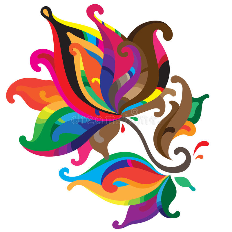 Härlig färgrik grafisk blomma royaltyfri illustrationer