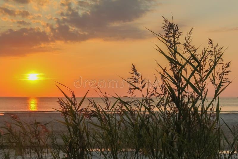 H?rlig f?rgrik solnedg?ng med dramatiska moln, skymning och sj?sida?rter p? havet royaltyfria foton