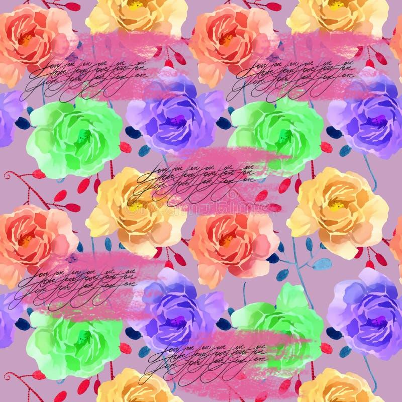 Härlig färgrik vattenfärg Rose Floral Seamless Pattern Background Elegant illustration med rosa färg- och gulingblommor stock illustrationer