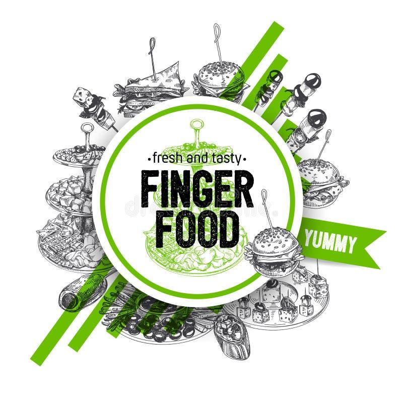 Härlig för fingerfoods för vektor hand dragen illustration stock illustrationer