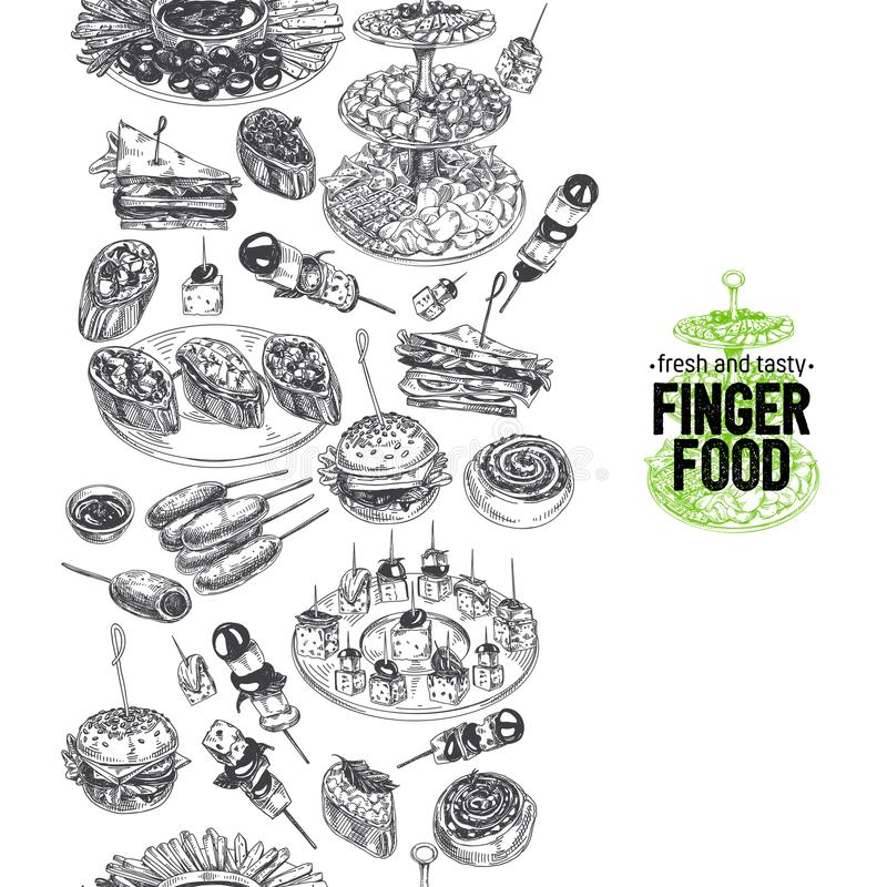 Härlig för fingerfoods för vektor hand dragen illustration vektor illustrationer