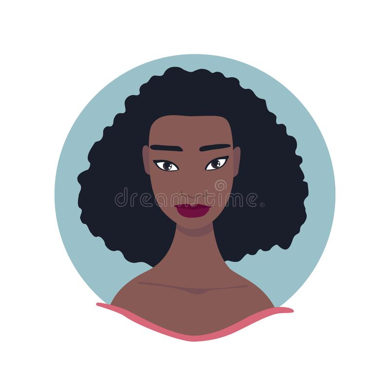 Härlig för framsidastående för ung kvinna bild för profil royaltyfri illustrationer