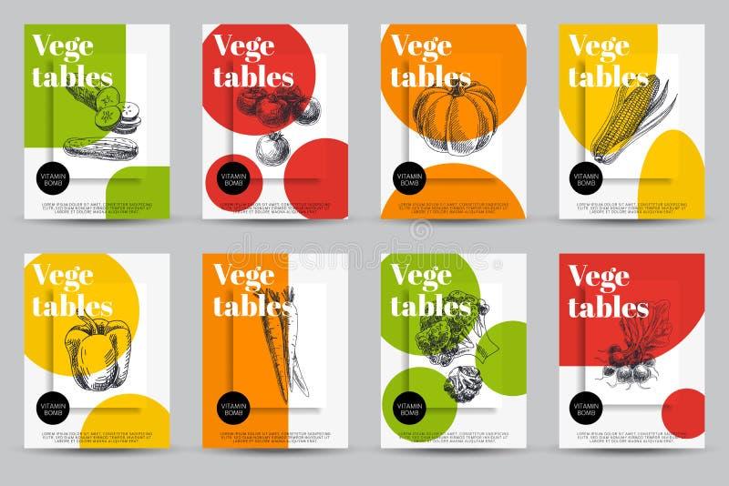 Härlig för grönsakkort för vektor hand dragen uppsättning royaltyfri illustrationer