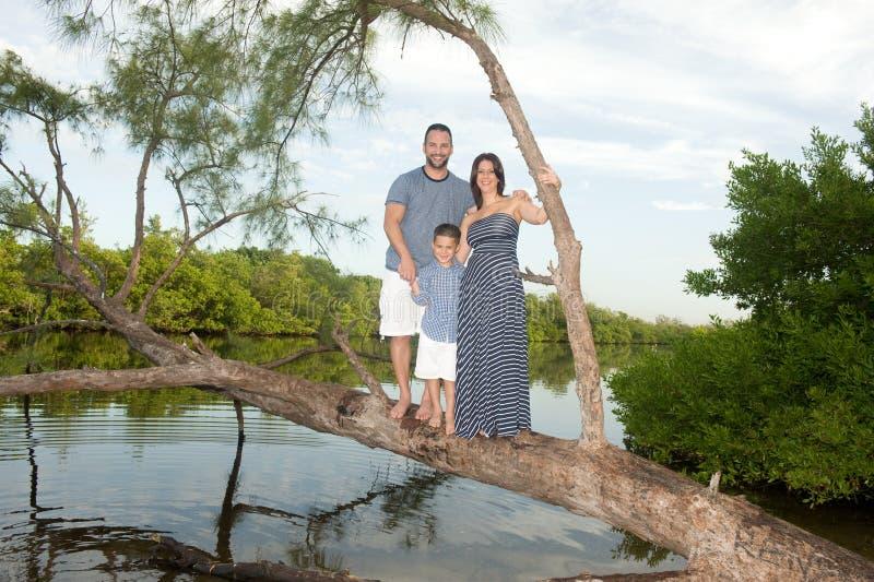 Härlig familj utomhus arkivfoton