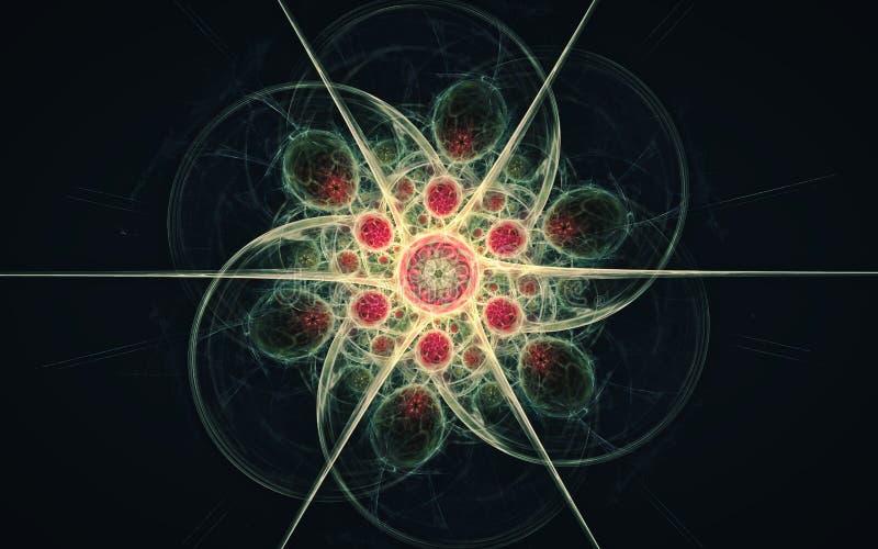 Härlig fantastisk blomma med sex kronblad som vrids i en spiral med en prydnadinsida av röda cirklar med strålar på en svart vektor illustrationer
