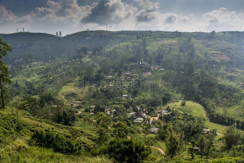 Härlig fantastisk landskapsikt av kullarna och bergen som täckas med vegetation royaltyfri fotografi