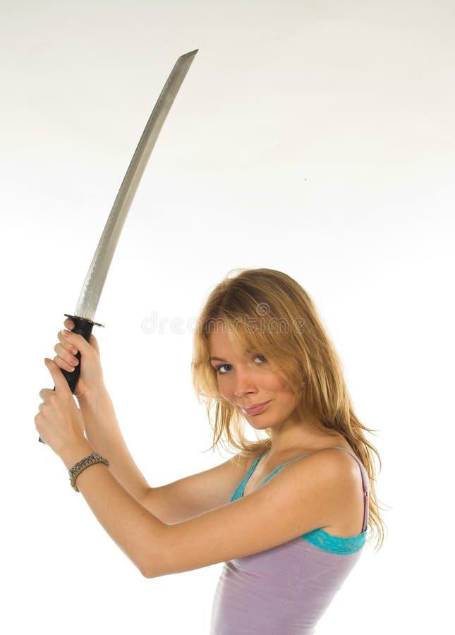 härlig farligt flicka arkivfoto