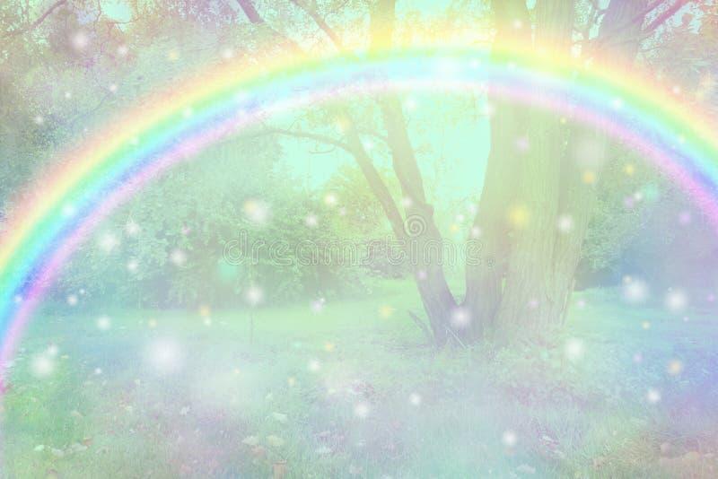 Härlig fe som regnbågeskogsmarkbakgrund arkivfoto