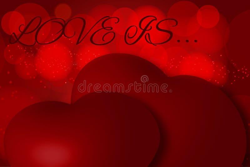 Härlig festlig illustration med två hjärtor, begrepp - förälskelse, valentin dag Inskriften på kortet vektor illustrationer