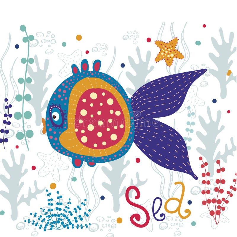 härlig fisk Härligt hav för vektor med färgrikt royaltyfri illustrationer