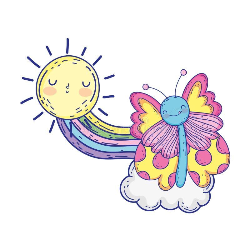 Härlig fjäril med regnbågen och solen royaltyfri illustrationer
