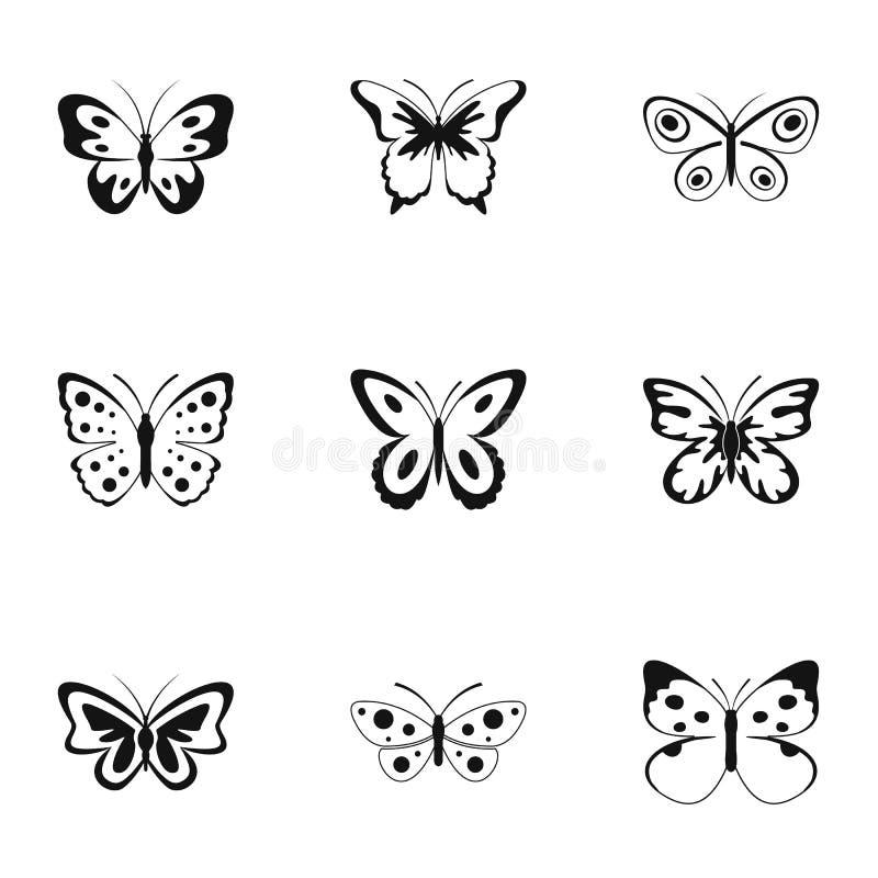 Härlig fjärilssymbolsuppsättning, enkel stil stock illustrationer