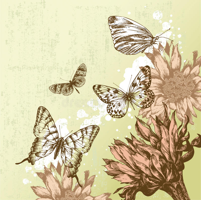 härlig fjärilstappning för bakgrund royaltyfri illustrationer