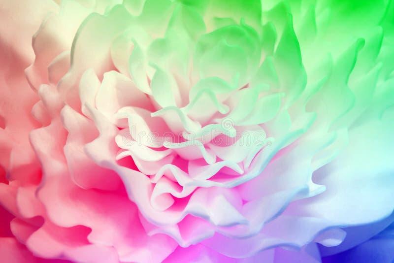 Härlig flerfärgad blomma som göras av syntetiskt material suddighet bakgrund arkivbilder