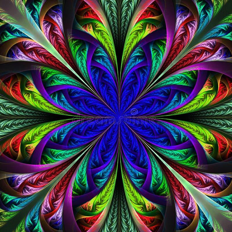 Härlig flerfärgad fractalblomma. Dator frambragda diagram stock illustrationer