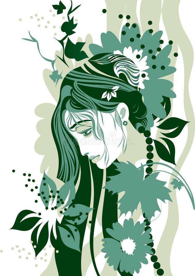 härlig flicka royaltyfri illustrationer