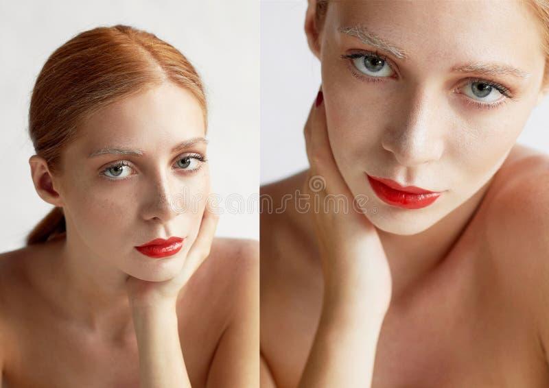Härlig flicka av det europeiska utseendet Rött hår med ett handlag av honung Skönhetskytte Stor-framsida stående fotografering för bildbyråer
