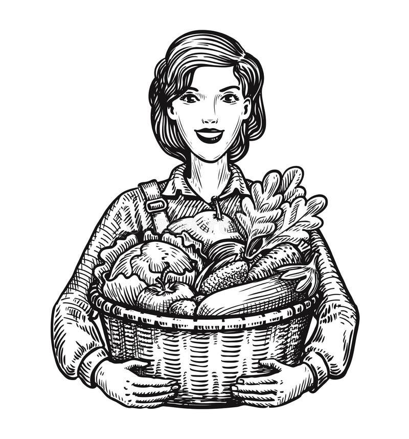 Härlig flicka eller lycklig bonde som rymmer en vide- korg full av grönsaker Jordbruk trädgårdsnäring, lantgårdbegrepp Hand stock illustrationer