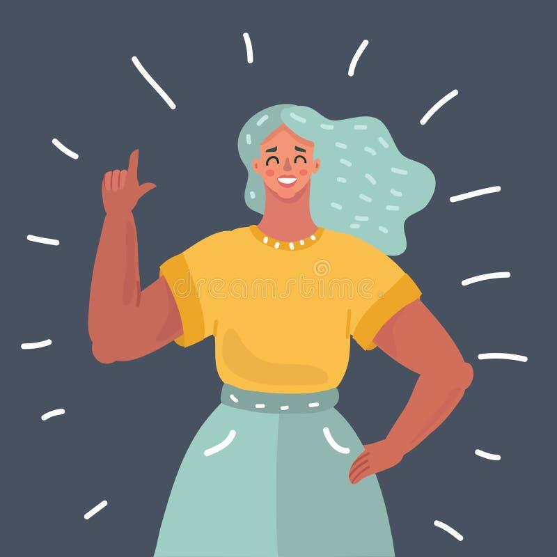 Härlig flicka eller ung kvinna med pekfingret stock illustrationer