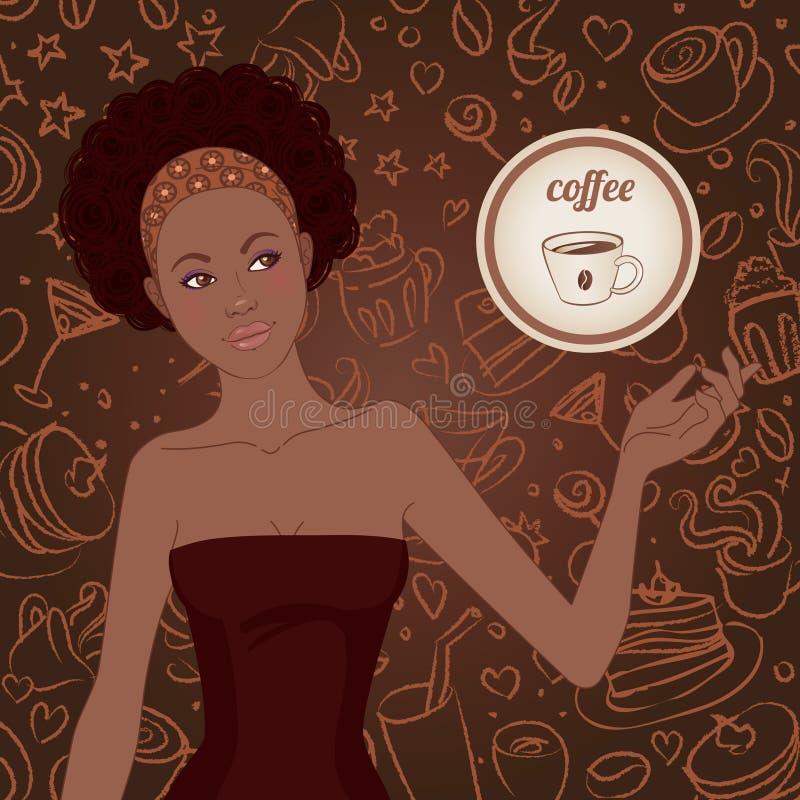 härlig flicka för afrikansk amerikan stock illustrationer