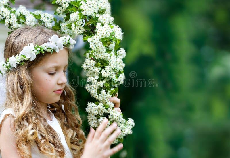 Härlig flicka för första nattvardsgång royaltyfria bilder