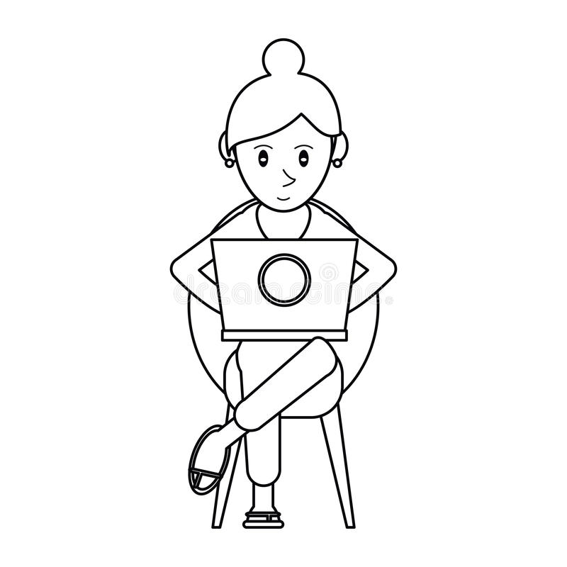 Härlig flicka för Pictogram som använder bärbar datorsammanträde stock illustrationer