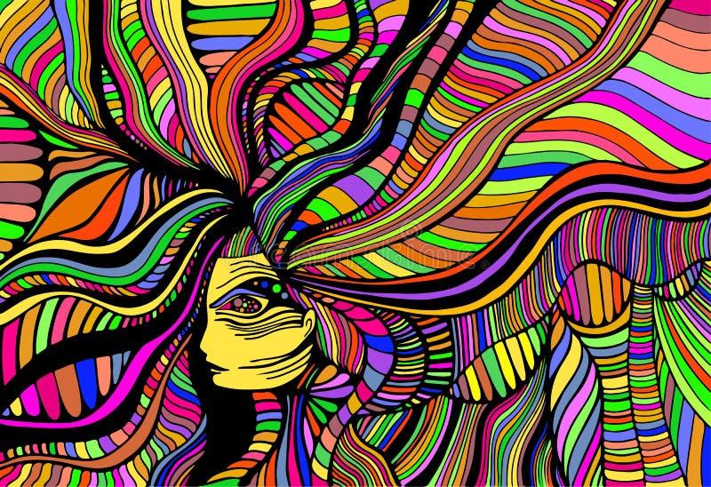 Härlig flicka för psykedelisk fantasi Utdragen illustration för vektorhand med den fantastiska overkliga kvinnan Idérik klotterst vektor illustrationer