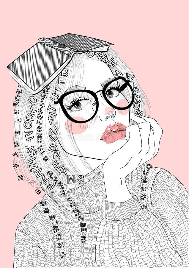 Härlig flicka för vektor med en bok på hennes huvud vektor illustrationer