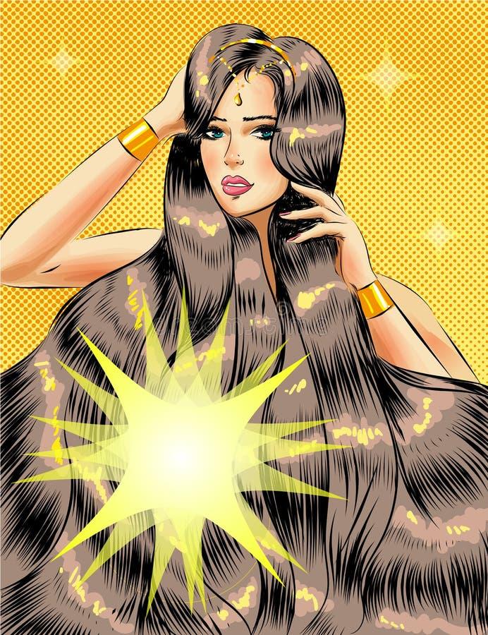 Härlig flicka för vektorpopkonst med långt glansigt hår royaltyfri illustrationer