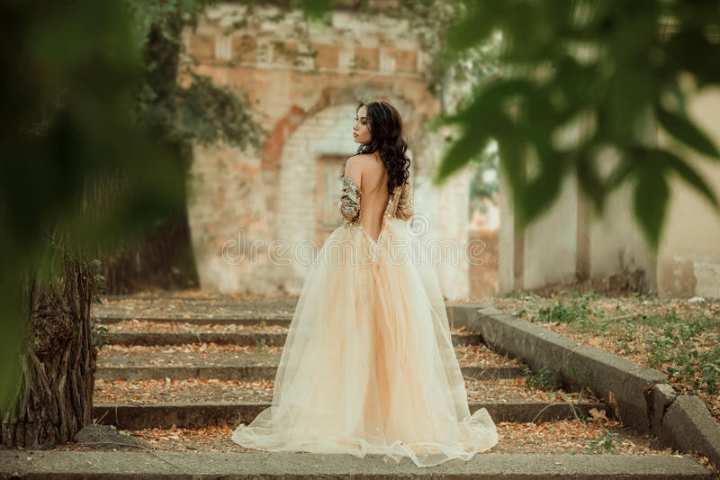 Härlig flicka i en guld, lyxig klänning fotografering för bildbyråer
