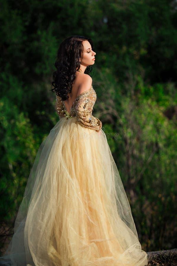 Härlig flicka i en guld, lyxig klänning royaltyfria foton