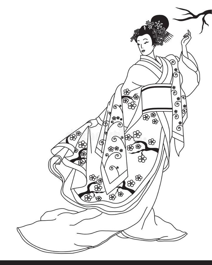Härlig flicka i en japansk kimono för en gå vektor illustrationer