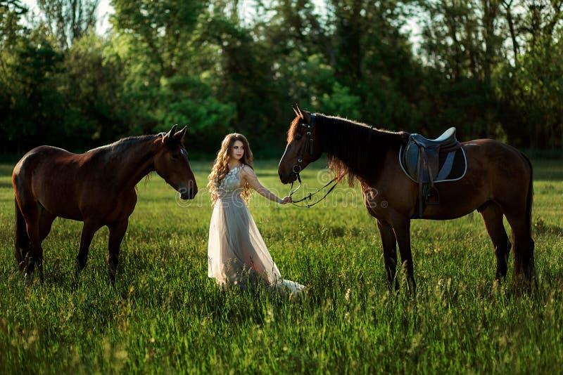Härlig flicka i en smart klänning i ett fält fotografering för bildbyråer