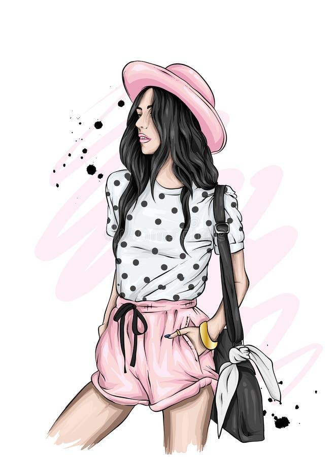 Härlig flicka i en stilfulla hatt, t-skjorta och kortslutningar Sommarkläder Mode & stil Vektorillustration för hälsningkort vektor illustrationer