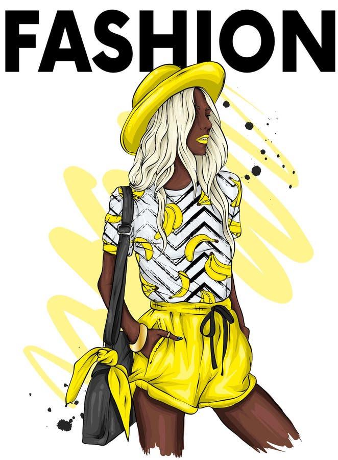 Härlig flicka i en stilfulla hatt, t-skjorta och kortslutningar Sommarkläder Mode & stil Vektorillustration för hälsningkort stock illustrationer