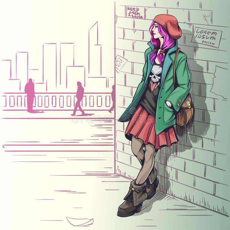 Härlig flicka i grungestilillustration fotografering för bildbyråer