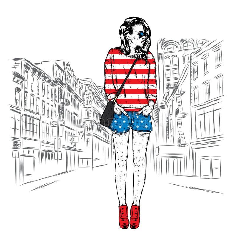 Härlig flicka i kortslutningar, hoodies och kängor i häl stock illustrationer