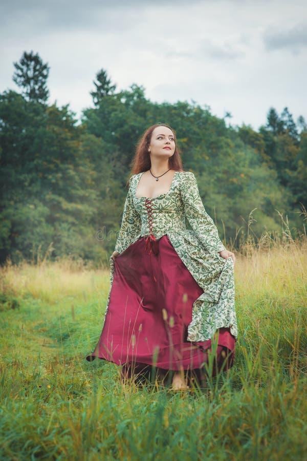 Härlig flicka i lång medeltida klänning som går på sommaräng royaltyfria foton