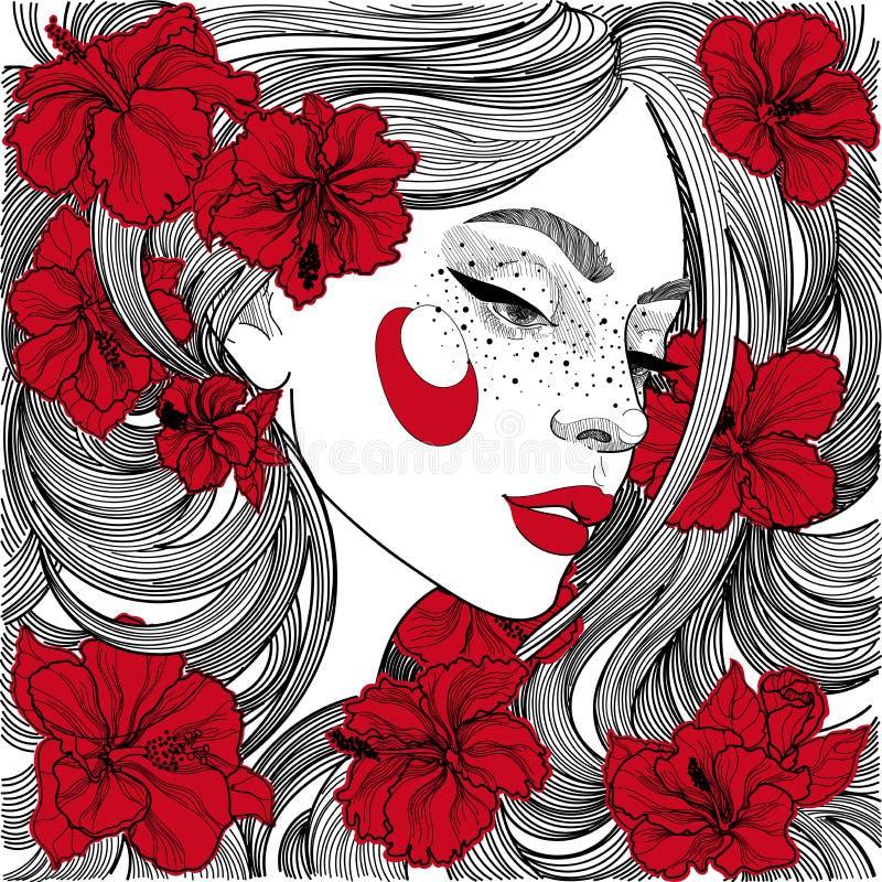 härlig flicka i profil med röda blommor i hår stock illustrationer