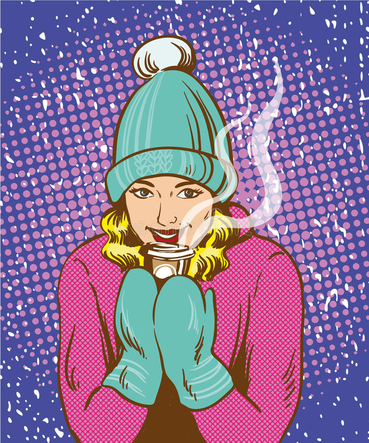 Härlig flicka i varm hatt och handskar som rymmer den varma drinken Stil för konst för pop för vinteruppvärmningsbegrepp retro ko vektor illustrationer