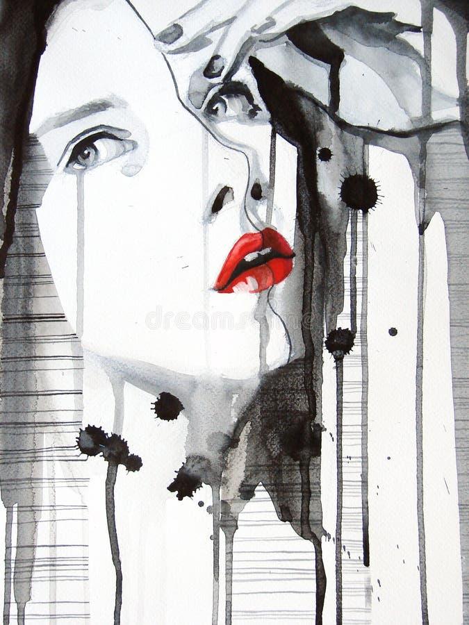 härlig flicka illustrerad stående stock illustrationer