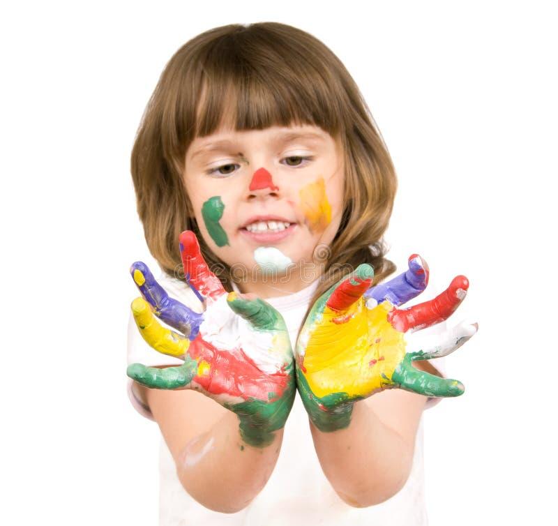härlig flicka little målarfärg royaltyfri bild