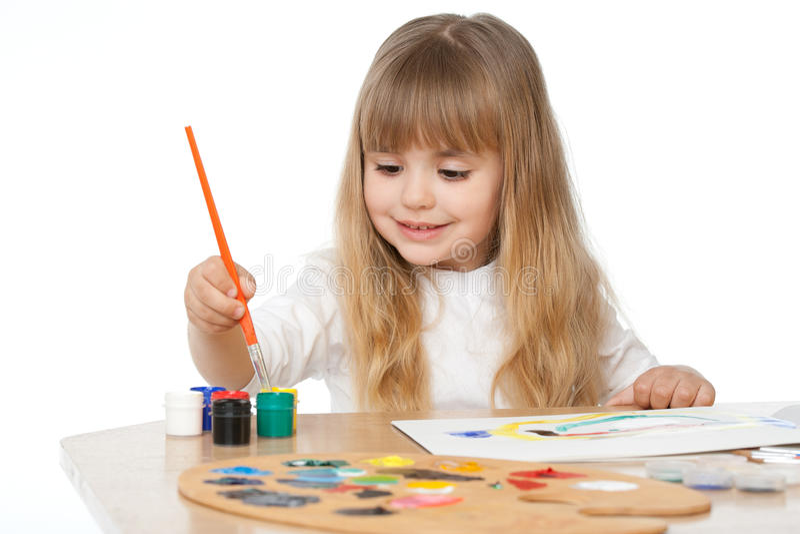 härlig flicka little målning arkivbilder