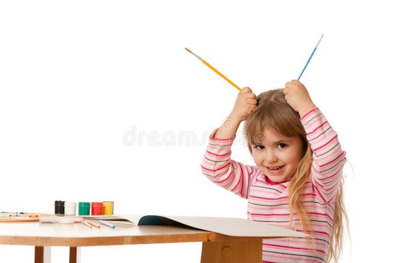 härlig flicka little målning arkivbild