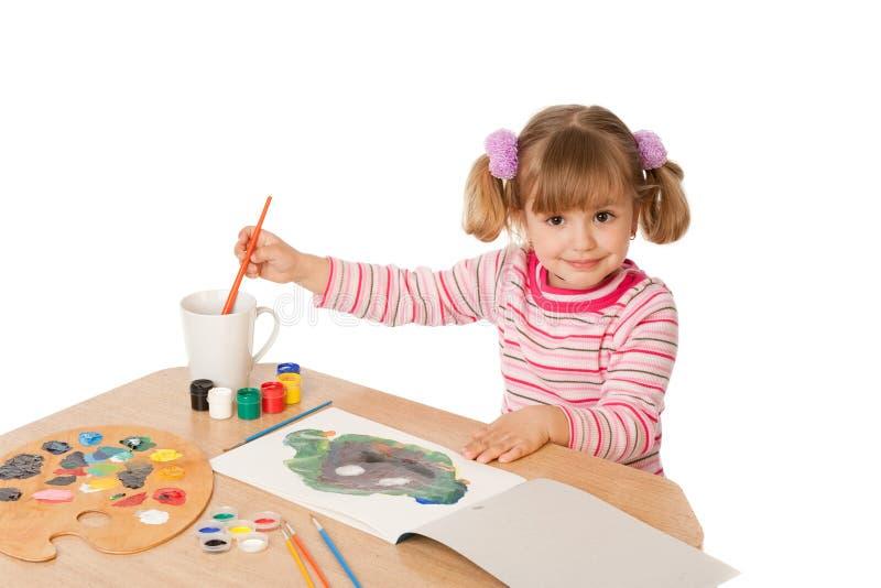 härlig flicka little målning arkivfoto