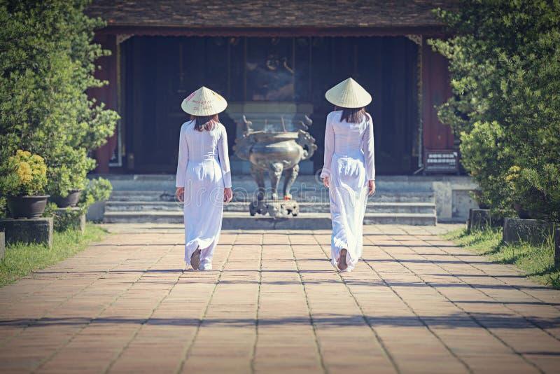 Härlig flicka med den traditionella klänningen för Vietnam kultur arkivbild